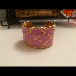 Lilly Pulitzer pink and gold cuff bracelet
